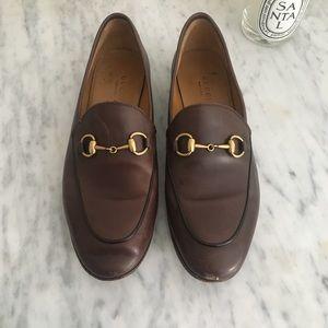 Gucci Jordaan brown leather horsebit flats loafers